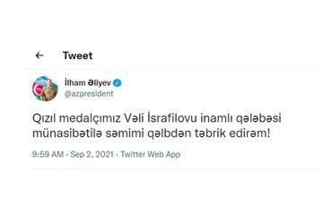 Paralimpiya Oyunlarında qızıl medal qazanmış Vəli İsrafilovu təbrik etdi - Azərbaycan Prezidenti