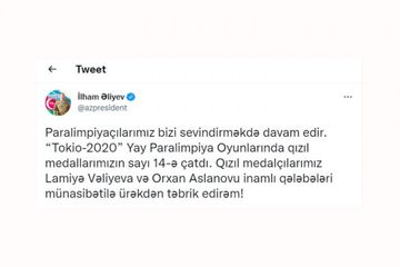 Paralimpiadada növbəti qızıl medalları qazanan idmançılarımızı təbrik etdi - Prezident İlham Əliyev
